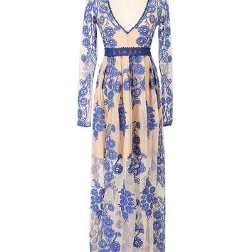 Blue Plunge Neck Embrodidery Detail Long Sleeve Maxi Dress