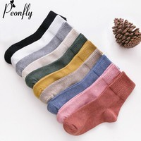 PEONFLY 2018 New Fashion Harajuku Solid Color Women Socks Autumn Winter High Quality Warm Casual Comfortable Cotton Socks Female
