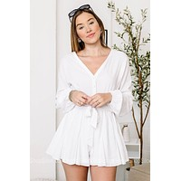Choose Happiness Long Sleeve Romper  | White