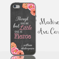 Though She Be But Little She Is Fierce Chalkboard Flower Pink Graduate Shakespeare Quote Samsung Edge iPhone 5s 4s 6s Plus Tough Phone Case