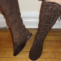Elf Boots Handmade Moccasins Dark brown Suede with by earthgarden