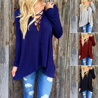 Fashion Womens Long Sleeve Shirt Casual Blouse Loose Cotton Tops T Shirt