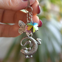 Charm keychain Lizard key ring Silver Charms Butterfly keyring Bohemian keychains boho charms key chain Nature lover gift animal bag charms