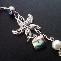 Starfish, fresh water pearl, abalone 14 gauge stainless steel belly navel ring, body jewelry, 14g