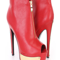 Red Zipper Accent Platform High Heel Booties Faux Leather