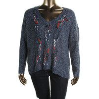 Kensie Womens Knit Marled V-Neck Sweater