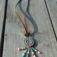 Long Leather, Silver & Bead Bohemian Necklace