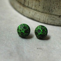 Fragment post earrings in Grass Green by jibbyandjuna on Etsy