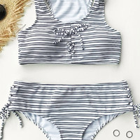 Cupshe Never Out Striped Tank Bikini Set