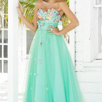 Vibrantly Elegant A-line Strapless Sweetheart Neckline Applique and Beading Floor Length Prom/Homecoming/Bridesmaid/Formal Dresses