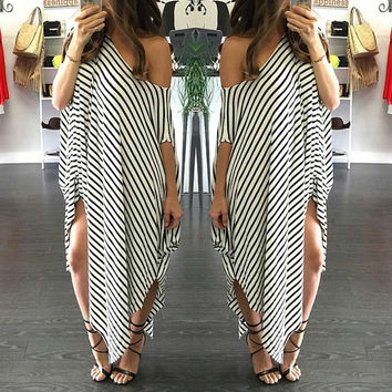 White Plus Size Striped Batwing Sleeve Off-Shoulder Split Asymmetric Maxi Dress
