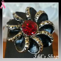 Flower Shaped Brass Ring Encrusted With Red Crystal & Marcasite Stones. Ring Is Adjustable.