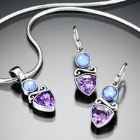 Sierra Tanzanite CZ with Blue Opal Accent Sterling Silver Jewelry Set