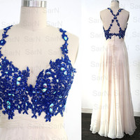 Long Chiffon Prom Dresses, Couture Royal Blue Lace Chiffon  Long Formal Gown, Straps V Neck Long Lace Chiffon Prom Gown