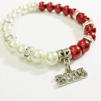 Graduation Jewelry / 2015 Graduation Gift Red and White / College Grad / Graduation Gift / Class of 2015 / Graduation Bracelet / Grad