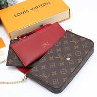 Louis Vuitton LV Fashion Three-piece Set Classic Check Letter Printing Key Case Card Case Clutch Bag Shoulder Messenger Bag