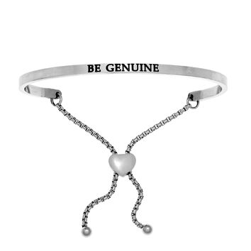 Intuitions Stainless Steel BE GENUINE Diamond Accent Adjustable Bracelet
