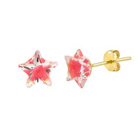 10k Yellow Gold Shadow Box Pink Star Stud Earrings 6mm x 6mm