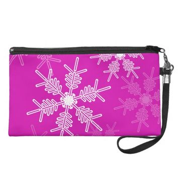 Trendy pink and white Christmas snowflakes Wristlet Clutch