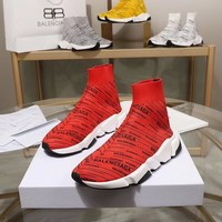 Balenciaga Speed Trainers Red With Black Logo Print Sneakers