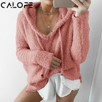 CALOFE Women Fluffy Mohair Hoodies 2018 New Spring Autumn Soft Fleece Sweatshirt Casual Drawstring Pullover Tracksuit XXXL