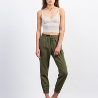 Woven Linen Joggers - Large