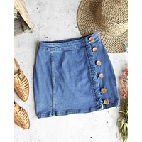 Free People - Little Daisies Button Front Denim Mini Skirt in Medium Wash Blue
