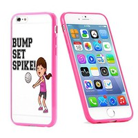 Popular Apple iPhone 6 or 6s Bump Set Spike Volleyball Sports Cute Gift for Teens TPU Bumper Case Cover Mobile Phone Accessories Hot Pink