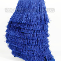 """Nelly Mambo Blue Fringe Open Toe Ankle Boot Booties - 4.75"""" Heels"""