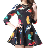 Bird Print Mini Skater Dress with Sleeve
