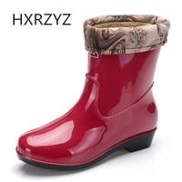 HXRZYZ spring/autumn new fashion rain boots warm spring ladies waterproof ankle rubber boots green and red women rain shoes