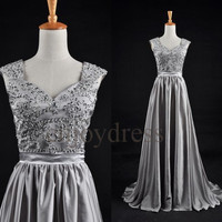 Custom Grey Beaded Long Prom Dresses Formal Evening Gowns Wedding Part Dresses Fashion Party Dress Bridesmaid Dresses Evening Dresses