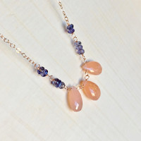 Shimmering, Strawberry Pink Moonstone Briolettes with Natural Iolite Rondelles in 14k Rose Gold Fill, Station Necklace, Layering, Gift, Gems