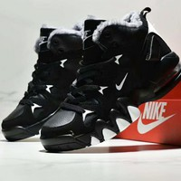 NIKE Winter Fashion Men Warm Air Cushion Basketball Shoes Sneakers Black