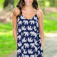SIMPLE - Women Summer Sexy Elephant Printed Fashionable One Piece Dress a10976