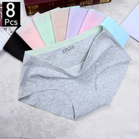 8 Pcs/briefs for women fashion sexy woman panties Solid seamless panties Mid-Rise cpanties for women cotton sexy underwear girl