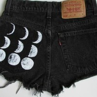 Black Denim Cutoffs with Hand Painted Moon Phases
