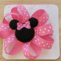 Mickey Minnie Set Hair Bow Clips Pink White Polka by ribbongoodies
