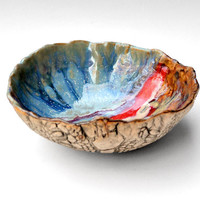 Ceramic Serving Bowl hand built stoneware pottery by OneClayBead