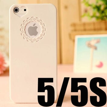 NEW 2014 Cute candy Color Loving Heart Flower Lace Hard Phone Case Cover For iPhone 5 5S+ Only To USA Drop shipping