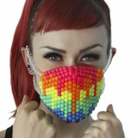 Rainbow Paintball Drip Kandi Mask