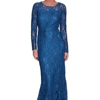 Beautifly Women's Long Sleeve Blue Lace Evening Gown