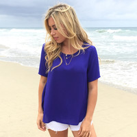 Dobby Blouse In Royal Blue