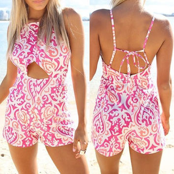 Pink Cut-Out Printed Strappy Romper