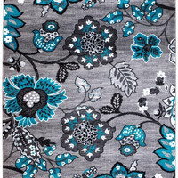 2203 Turquoise Floral Area Rugs
