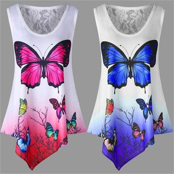 Summer T Shirt Tops Casual Sleeveless Irregular Butterfly Print T Shirt Loose Plus Size Female Top