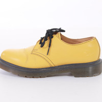 90s Dr Marten Yellow Leather Shoes Oxfords Hipster Grunge Vintage Footwear Womens Size US 7 UK 5 EUR 37-38