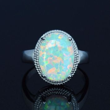 Serene White Fire Opal Ring with Big Lab-created Opal Stone
