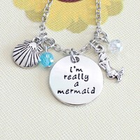 I'm Really A Mermaid - Stamped Pendant & Sea Charm Necklace