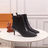 lv louis vuitton trending womens black leather side zip lace up ankle boots shoes high boots 216